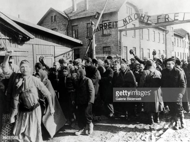 Survivors of Auschwitz leaving the camp at the end of World War II, Poland, February 1945. Above them is the German slogan 'Arbeit macht frei' ....