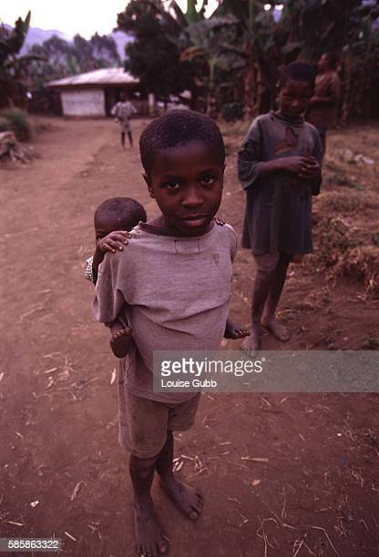Survivors of the 1986 toxic CO2 gas tragedy at Lake Nyos village were resettled by the government at Bwa Bwa Children of the survivors wait to return...