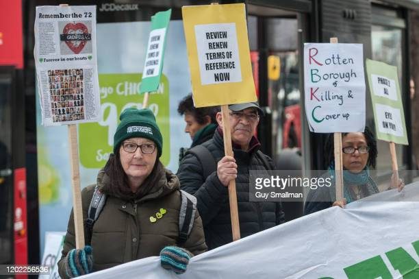 Survivors of the Grenfell Tower disaster and their allies protest outside the resumption of the inquiry on January 27, 2020 in London, England. The...