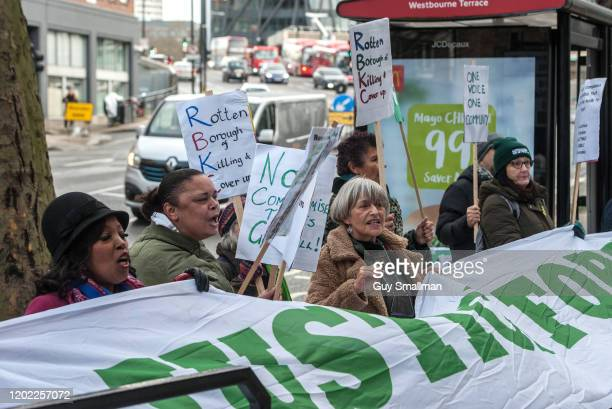 Survivors of the Grenfell Tower disaster and their allies protest outside the resumption of the inquiry on January 27 2020 in London England The...