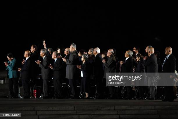 Survivors of the Hiroshima atomic bomb bid farewell to Pope Francis after his visit to the Peace Memorial Park on the second day of a four day Papal...
