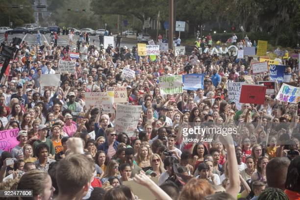 Survivors of the Margory Stoneman Douglas High School shooting march with other Tallahassee high school students students from Florida State...