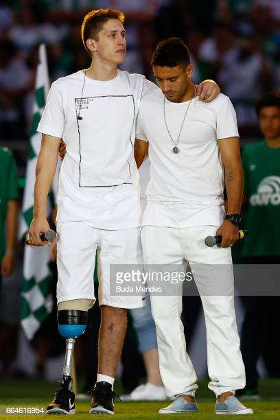 Survivors of the November 28 2016 plane crash in Colombia that killed most of the Chapecoense football team Alan Ruschel and Jakson Follmann seen...