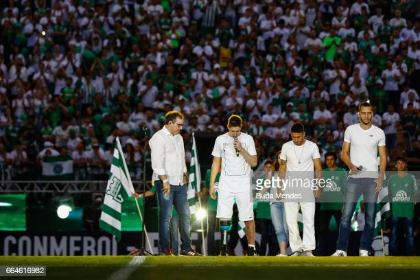 Survivors of the November 28, 2016 plane crash in Colombia that killed most of the Chapecoense football team, Rafael Henzel, Jakson Follmann, Alan...