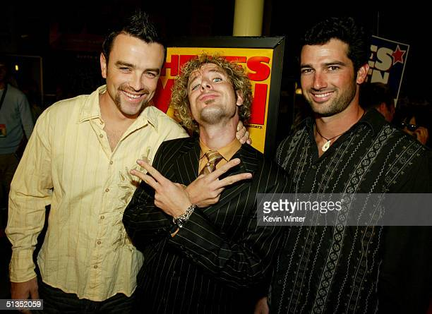 Survivor's Ryan O'Paray Jonny Fairplay and Burton Roberts arrive to the premiere of United Artists' film The Yes Men on the opening night of the...