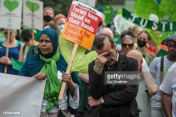 Survivors, the bereaved, fire fighters and their supporters remember the 72 victims, four years after the fatal fire at Grenfell Tower on June 14,...