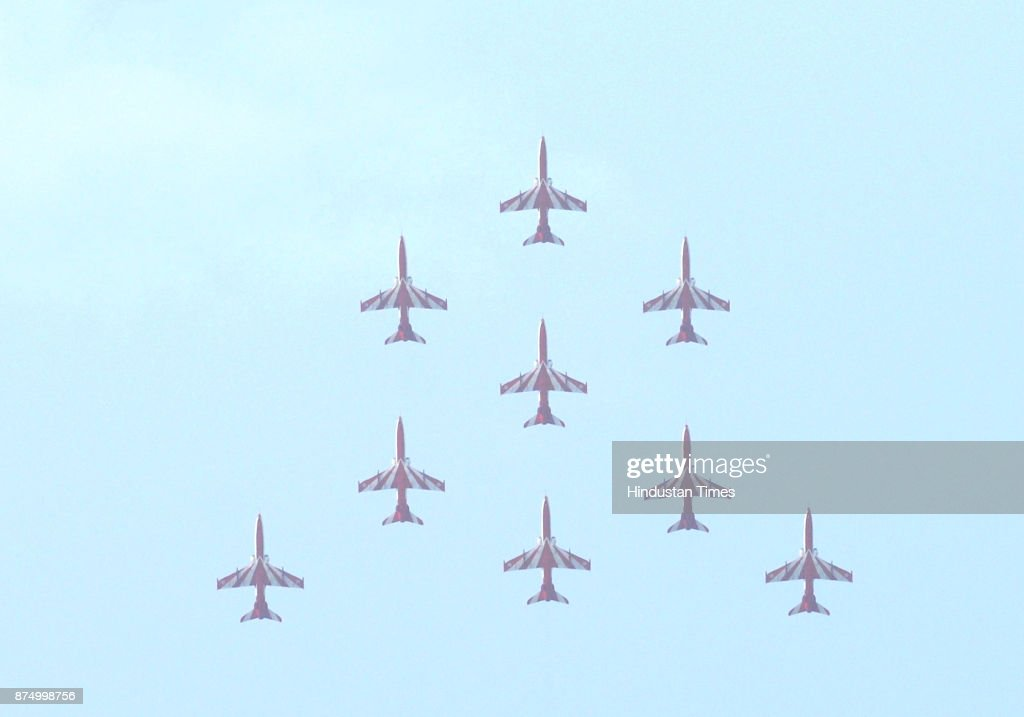 Surya kiran air crafts during aerobatic display at Adampur air force station on November 16 2017 near Jalandhar India President Ram Nath Kovind...