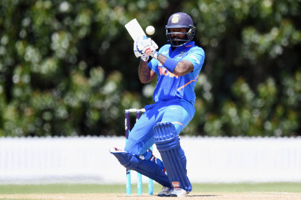 Suryakumar Yadav of India A bats during the One Day International between New Zealand XI and India A at Bert Sutcliffe Oval on January 19 2020 in...