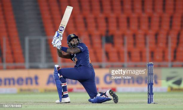 Suryakumar Yadav of India hits out for six runs during the 4th T20 International between India and England at Narendra Modi Stadium on March 18, 2021...