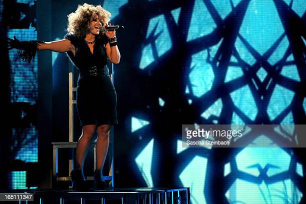 Susan Albers performs during the rehearsal of the third 'Deutschland Sucht Den Superstar' Show at Coloneum on March 30 2013 in Cologne Germany