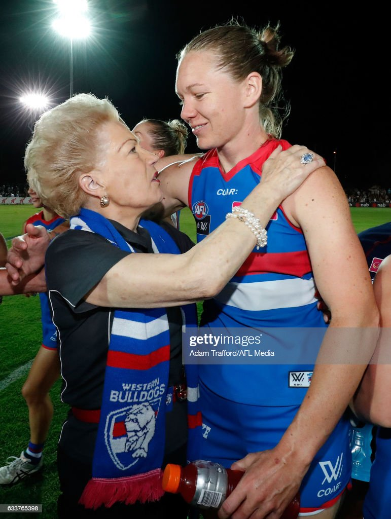 Susan Alberti celebrates with Aasta O'Connor of the Bulldogs during the 2017 AFLW Round 01 match between the Western Bulldogs and the Fremantle Dockers at VU Whitten Oval on February 4, 2017 in Melbourne, Australia.