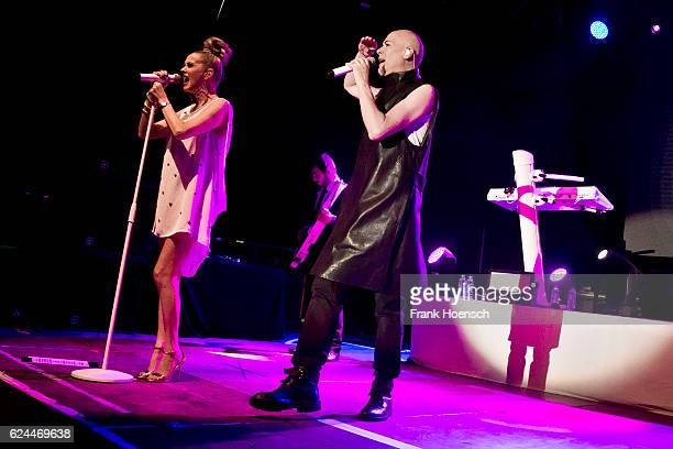 Susan Ann Sulley and Phil Oakey of the British band The Human League perform live during a concert at the Huxleys on November 19 2016 in Berlin...