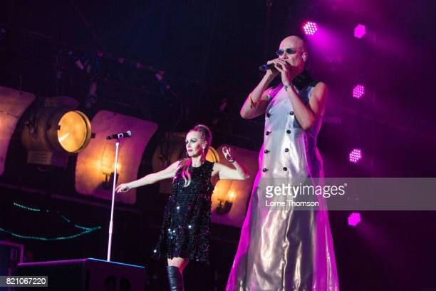 Susan Ann Sulley and Philip Oakey of The Human League perform on Day 2 of Rewind Festival at Scone Palace on July 22 2017 in Perth Scotland