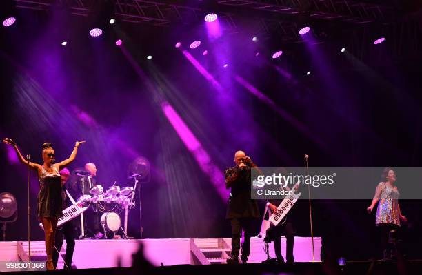 Susan Ann Sulley Joanne Catherall and Philip Oakey of The Human League perform on stage during Day 4 of Kew The Music at Kew Gardens on July 13 2018...