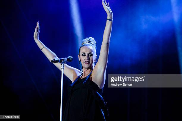 Susan Ann Sulley of The Human League performs on stage on Day 1 of Bingley Music Live 2013 at Myrtle Park on August 30 2013 in Bingley England