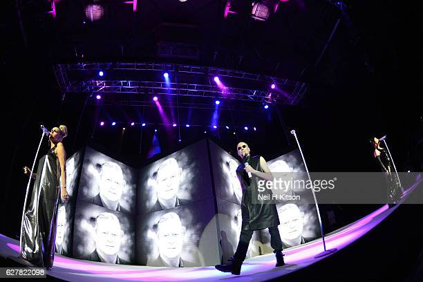Susan Ann Sulley Philip Oakey and Joanne Catherall of The Human League perform at Sheffield Arena on December 3 2016 in Sheffield England