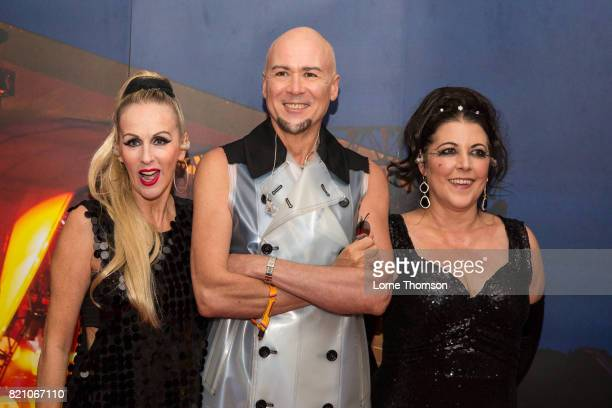 Susan Ann Sulley Philip Oakey and Joanne Catherall of The Human League pose for photographers on Day 2 of Rewind Festival at Scone Palace on July 22...
