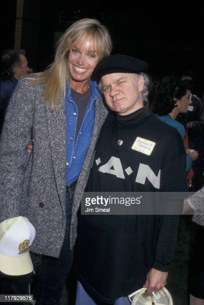 Susan Anton and Michael J Pollard during 1988 Special Olympics at UCLA in Los Angeles California United States