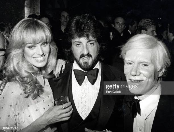 Susan Anton Sylvester Stallone and Andy Warhol during Andy Warhol's Art Opening November 20 1979 at Whitney Museum in New York City New York United...