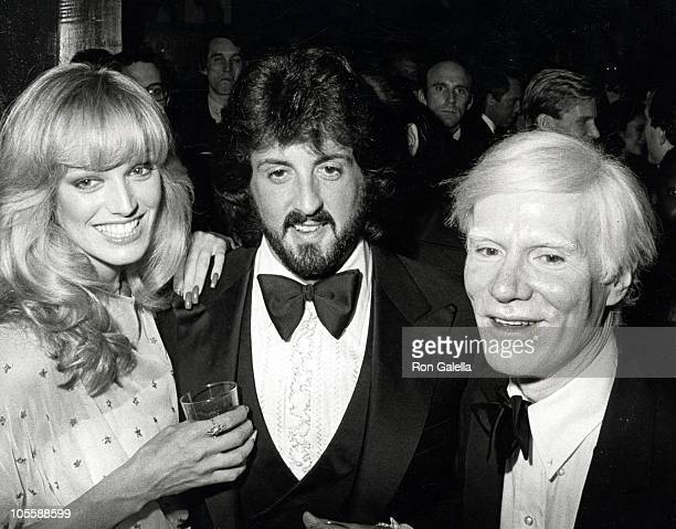Susan Anton Sylvestor Stallone and Andy Warhol during Andy Warhol Exhibit Opening November 20 1979 at Whitney Museum in New York City New York United...