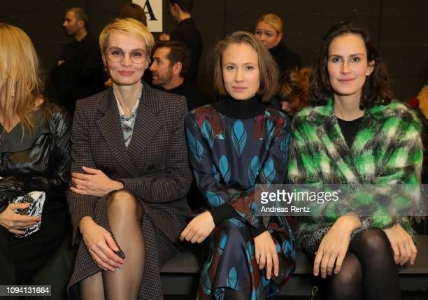 Susan Atwell Alina Levshin and Saralisa Volm attend the Odeeh Defile during the Berlin Fashion Week Autumn/Winter 2019 at Haus Der Berliner...