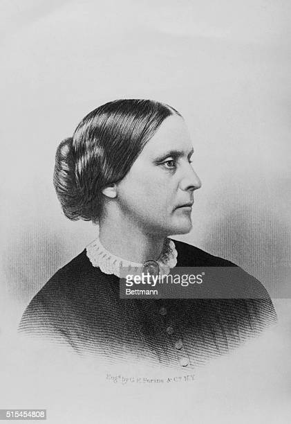 Susan B. Anthony, American reformer and leader of the woman's Suffrage Movement. Engraving by G.E. Perine &Co, circa 1870.