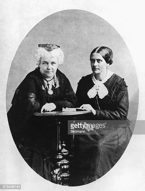 Susan B Anthony and Elizabeth Cady Stanton founders of The National Woman Suffrage Association are shown seated together at small table Sarony...