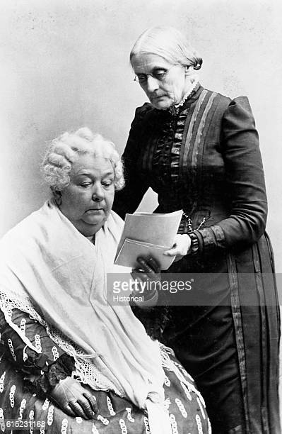 Susan B Anthony looks over the shoulder of Elizabeth Cady Stanton The two women were leaders of the suffragist and abolitionist movements in the...