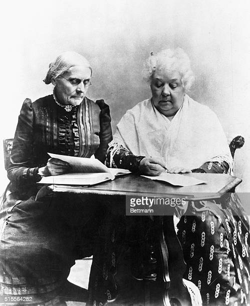 Susan B Anthony reads a book with Elizabeth Cady Stanton The two women were leaders of the nineteenth century suffragist and abolitionist movements