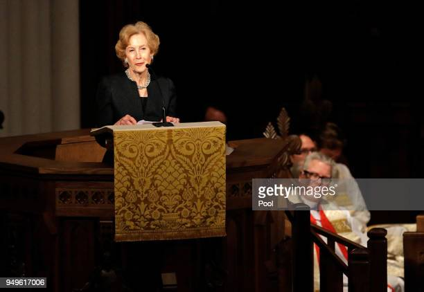 Susan Baker speaks during a funeral service for former first lady Barbara Bush at St Martin's Episcopal Church April 21 2018 in Houston Texas Bush...