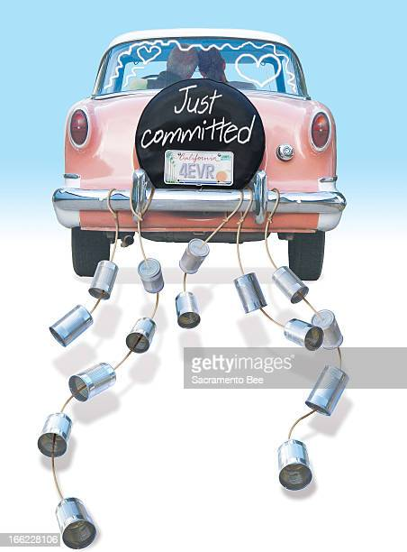 Susan Ballenger color illustration of wedding couple in car decorated with tin cans and the phrase 'Just committed' Can run with story about couples...