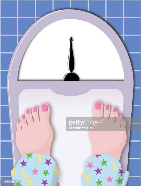 Susan Ballenger color illustration of woman's feet on bathroom scale.