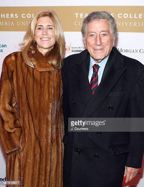 Susan Benedetto and singer/musician Tony Bennett attend the Teachers College 125th Anniversary celebration gala at The Apollo Theater on November 12...