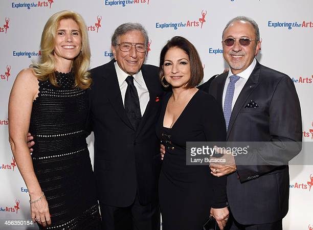 Susan Benedetto Tony Bennett singer Gloria Estefan and Emilio Estefan attend the 8th Annual Exploring the Arts Gala at Cipriani 42nd Street on...