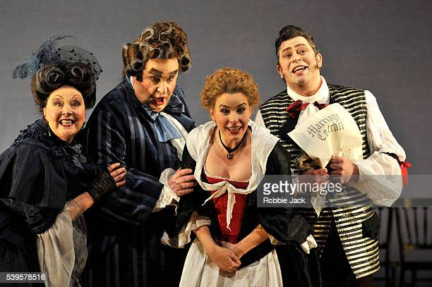 Susan Bickley as Marcellina Richard Wiegold as Dr Bartolo Anna Devin as Susanna and David Stout as Figaro in Welsh National Opera's production of...