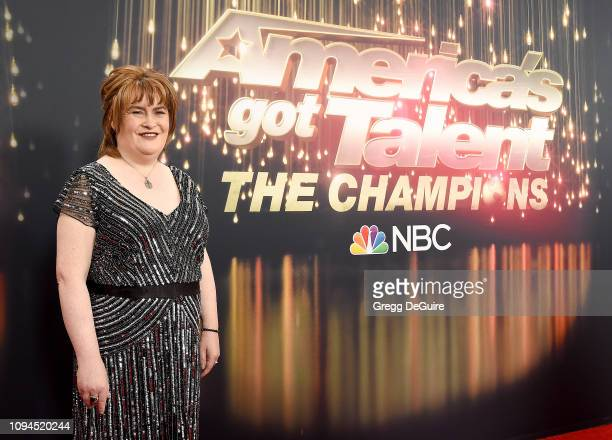 Susan Boyle arrives at America's Got Talent The Champions Finale at Pasadena Civic Auditorium on October 17 2018 in Pasadena California