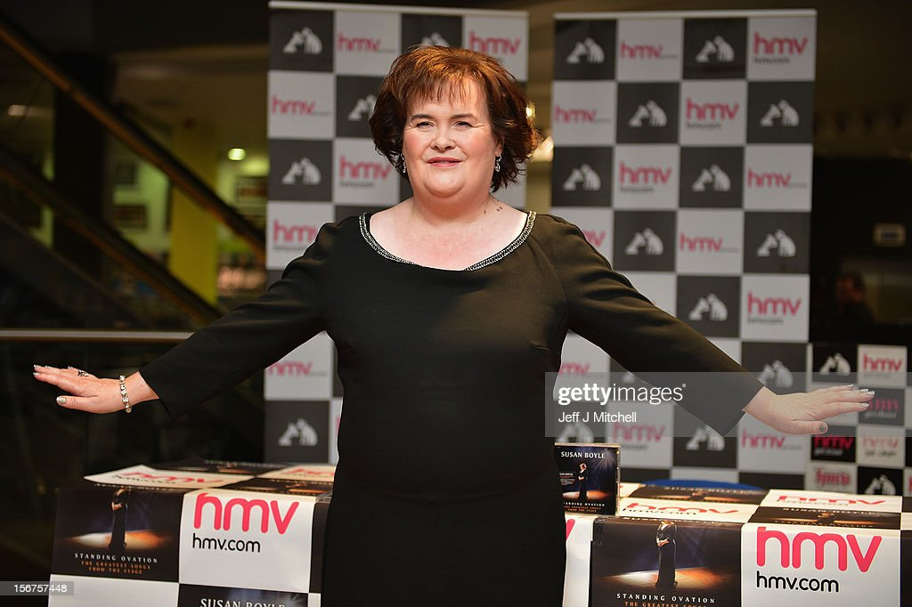 Susan Boyle attends an album signing at HMV on November 20, 2012 in Glasgow. Dozens of fans queued to get signed copies of her new album titled Standing Ovation.