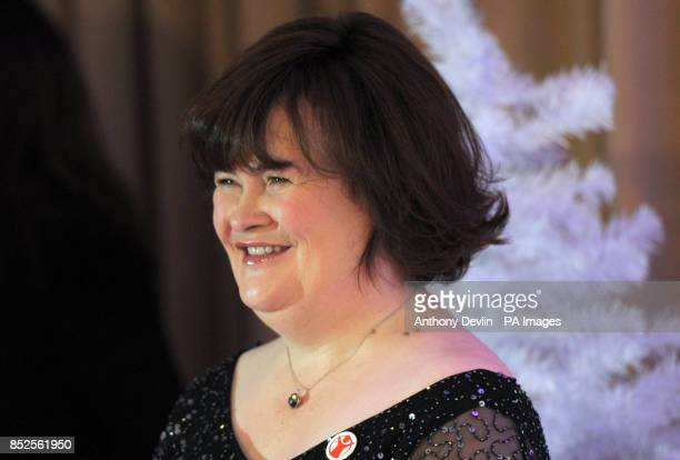 Susan Boyle during a press conference to promote her forthcoming Christmas single 'O Come All Ye Faithful' a duet with Elvis Presley and in...