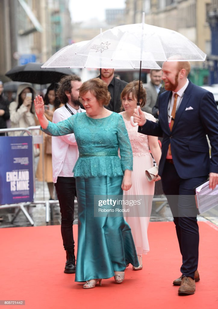 Susan Boyle greets fans during the world premiere for 'England is mine' and closing event of the 71st Edinburgh International Film Festival at Festival Theatre on July 2, 2017 in Edinburgh, Scotland.