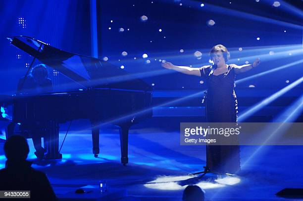 Susan Boyle performs during the 3rd semi final of the TV show 'Das Supertalent' on December 12 2009 in Cologne Germany