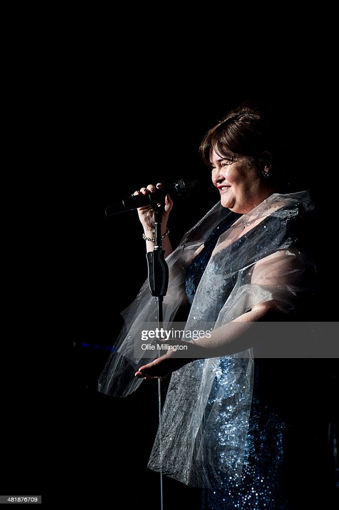 Susan Boyle performs on her birthday during a date of her first UK tour at De Montfort Hall And Gardens on April 1, 2014 in Leicester, England.