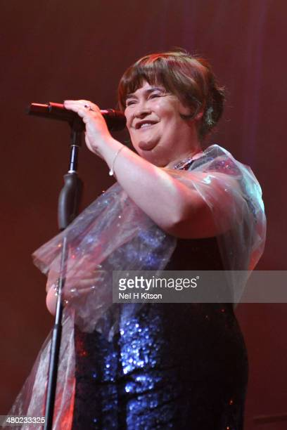 Susan Boyle performs on stage at York Barbican on March 23 2014 in York United Kingdom
