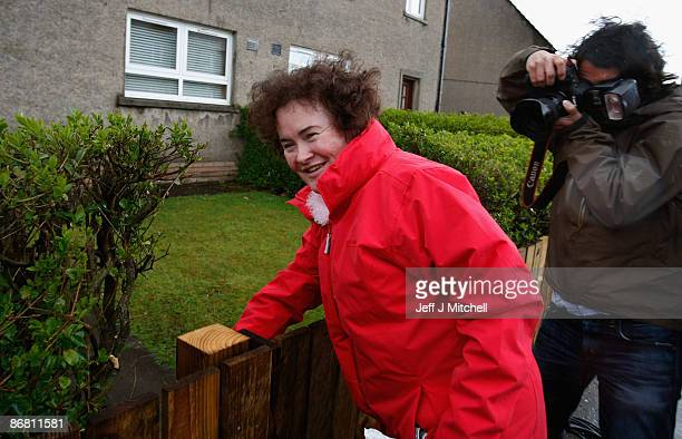 Susan Boyle star of 'Britain's Got Talent' returns to her home in West Lothian on May 8 2009 in Blackburn Scotland The 47 year old is being filmed...