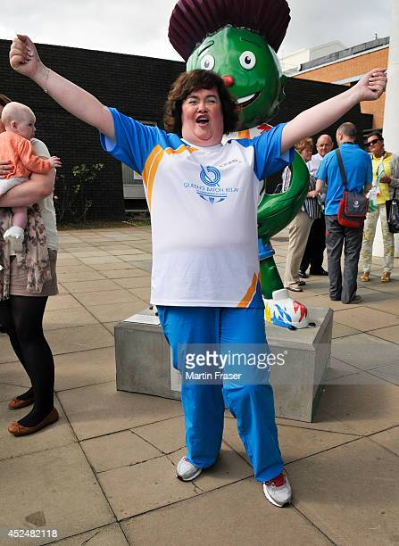Susan Boyle visited the Royal Hospital for Sick Children after taking parting part in the Commonwealth Games baton relay on July 21 2014 in Glasgow...