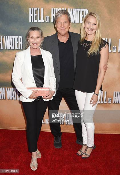 Susan Bridges actor Jeff Bridges and daughter Haley Bridges arrive at the screening of CBS Films' 'Hell Or High Water' at ArcLight Hollywood on...