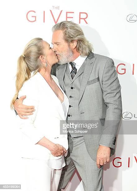 Susan Bridges and actor Jeff Bridges attend 'The Giver' premiere at Ziegfeld Theater on August 11 2014 in New York City