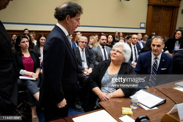 Susan Bro mother of Heather Heyer greets House Civil Rights and Civil Liberties Subcommittee chairman Jamie Raskin before the start of a hearing on...