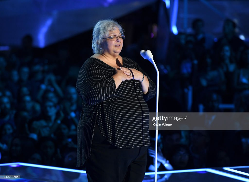 Susan Bro speaks onstage during the 2017 MTV Video Music Awards at The Forum on August 27, 2017 in Inglewood, California.