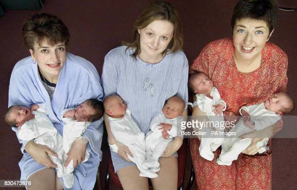 Susan Brown with Lucy and Natalie Kirsty Parker with Amy and Adam and Rachael Gee with Max and Louis three of the four sets of twins born within 24...