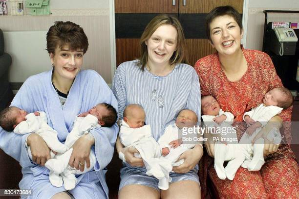 Susan Brown with Lucy and Natalie; Kirsty Parker with Amy and Adam and Rachael Gee with Max and Louis, three of the four sets of twins born within 24...